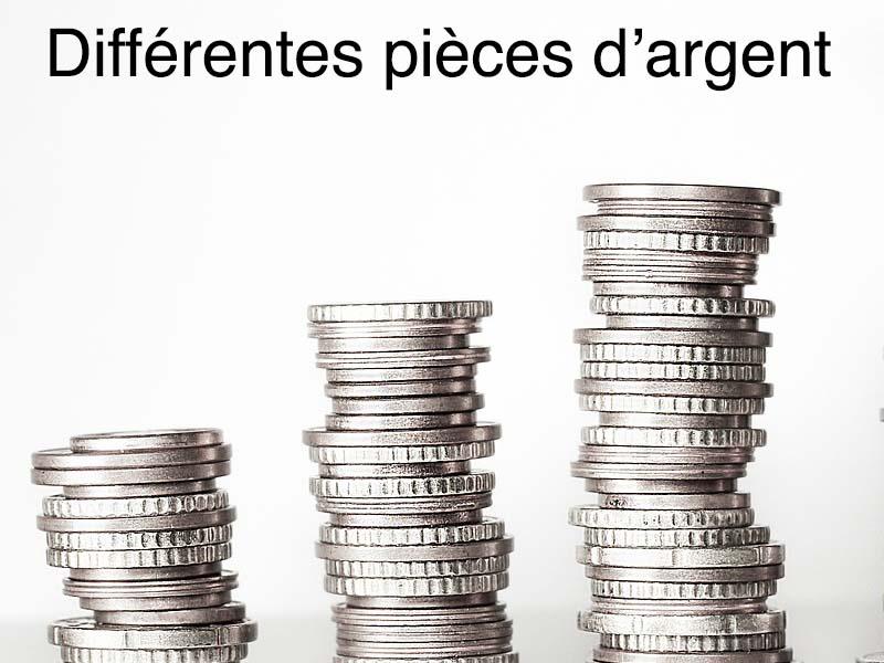 différentes pièces argent