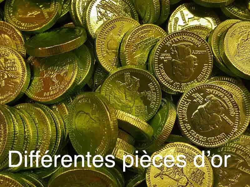 les différentes pièces or