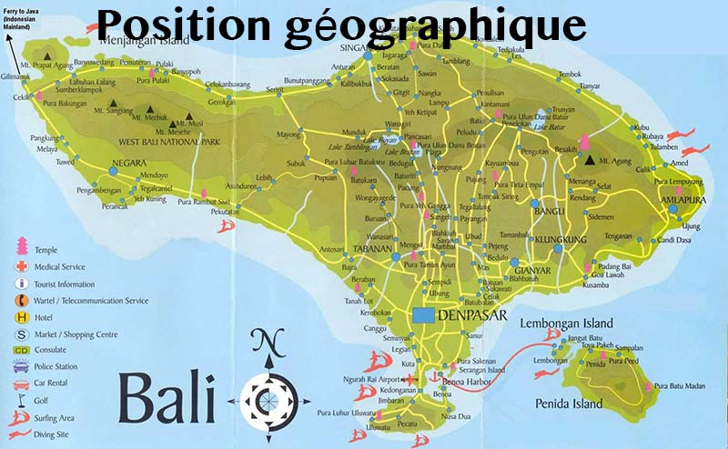 position géographique bali