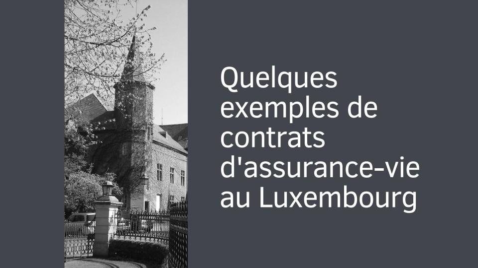 Quelques exemples de contrats d'assurance-vie au Luxembourg