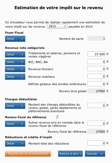 Simulation impôt